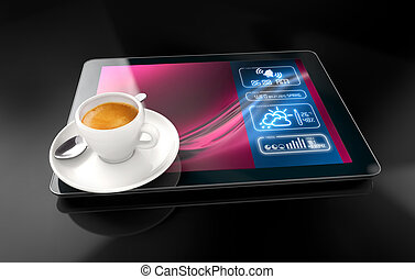 modern awakening - coffee cup over a tablet on black...
