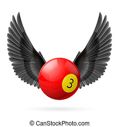 Wings inspiring - Black wings with red billiard ball on...