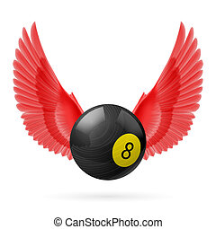 Wings inspiring - Red wings with black billiard ball on...