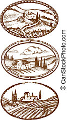 Tuscany landscapes - Tuscanyc landscapes, three labels in...