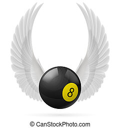 Wings inspiring - White wings with black billiard ball on...