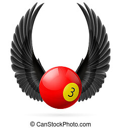 Wings inspiring - Black wings with red billiard ball on the...