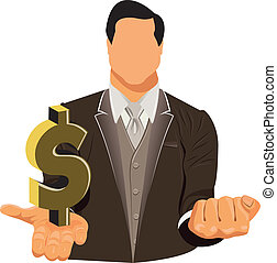 businessman in suit with dollar - Vector design of...