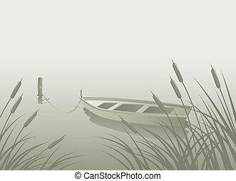 Lake Boat Reeds - Landscape with lake, boat, reeds...