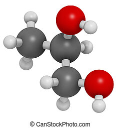 Propylene glycol (1,2-propanediol) molecule. Used as solvent in