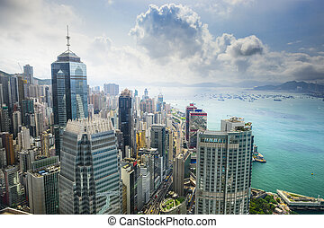 Hong Kong China City Skyline - Hong Kong, China aerial view...