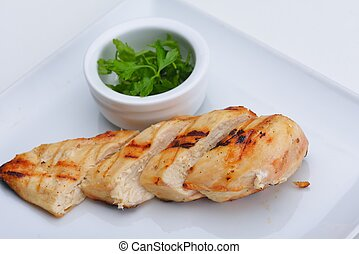 chicken steak - chicken grill food meat sliced isolated on...