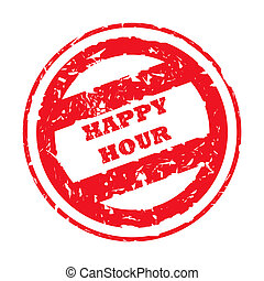 Happy Hour Stamp - Use Happy Hour stamp, isolated on white...