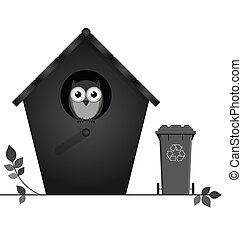 Recycling - Monochrome birdhouse with recycling bin isolated...