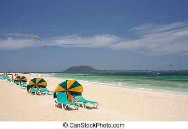 Beach at Corralejo, Fuerteventura Island Isla de Lobos in...