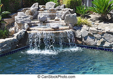 Backyard pool - Pool waterfall in backyard oasis