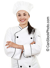 Female Chef - Stock image of female Chef or Baker isolated...