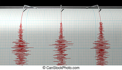 Seismograph Earthquake Activity - A closeup of a seismograph...