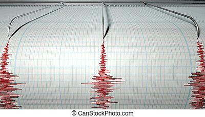 sismógrafo, terremoto, actividad