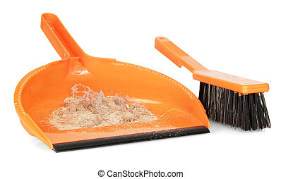 Whisk broom and dustpan with dirt - Whisk broom with short...