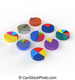 set of 3d different pie chart on isolated background