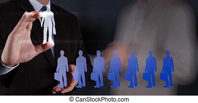 hombre de negocios, mano, Escoger, gente, icono, humano,...