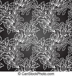 hand draw leaf seamless pattern
