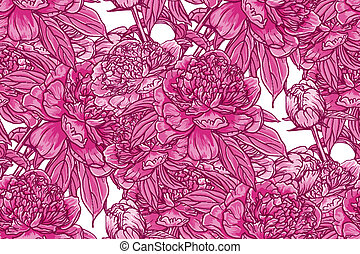 Vintage floral seamless pattern with peonies
