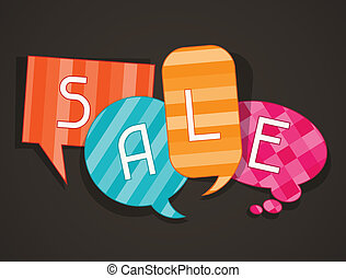 Sale poster with speech bubbles in flat design style.