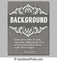 Vector vintage border frame engraving with retro ornament...