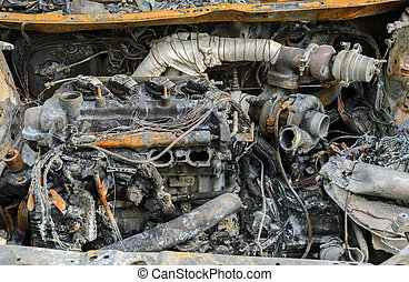 Burnt car wreck in accident