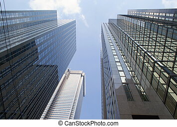 Skyscapers, Toronto - Photo shows the bottom view onto the...