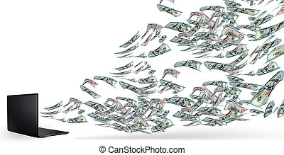 Money tornado from laptop white background