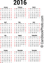 Calendar 2016 - Simple calendar for 2016. Calendar template.