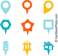 Landmark and Showplace Symbol Map Pointer Mark Icons Vector...