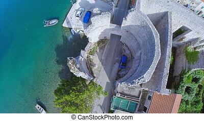 Village Polace on island Mljet, aerial - Copter aerial view...