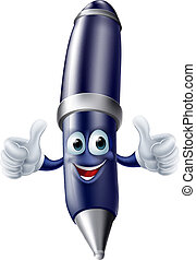 Thumbs up cartoon pen person - An illustration of a thumbs...