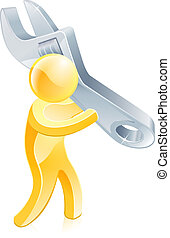 Person holding spanner