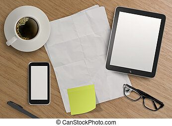 3d empty tablet and a cup of coffee with note pad on the...