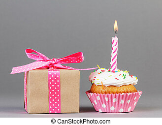 Cupcake with gift box - Birthday Cupcake with candle and...