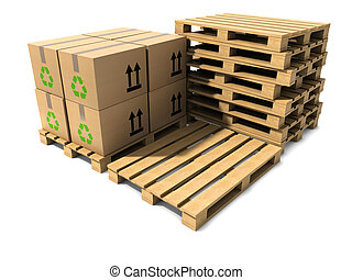 3d Stack of wooden shipping pallets