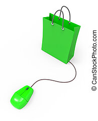 3d Mouse connected to shopping bag - 3d render of a computer...