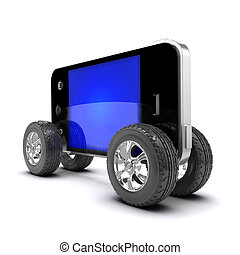 3d Smartphone with car wheels - 3d render of a smartphone...