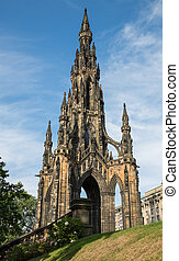 Scott monument in Edinburgh, Scotland, United Kingdom -...