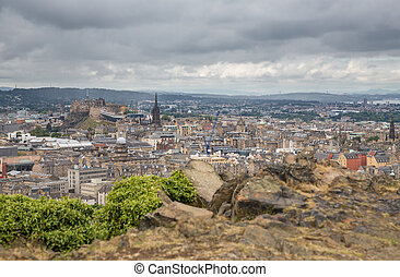 Wide view of Edinburgh skyline - Edinburgh skyline with...