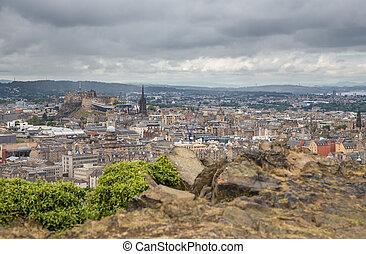 largo, vista, Edimburgo, Skyline