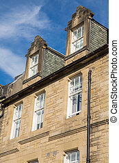 Front view of vintage facades in Edinburgh - Side view of...