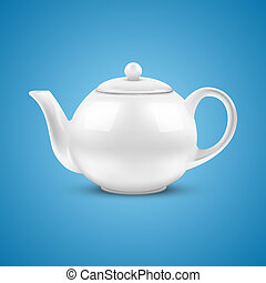 White ceramic teapot. Vector illustration. - Blue background...