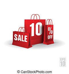 Shopping bag printed with a ten discount.  Vector. Isolated.