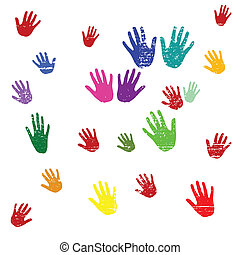 Hands in multi colour - Illustration with hands in different...