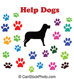 Help dogs - illustration with a dog and dog paws and text...