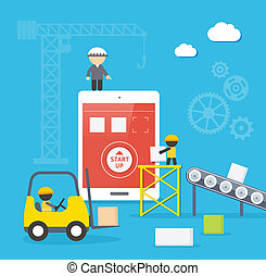 Flat style vector illustration concept of mobile app...