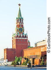 Lenin's Mausoleum and Kremlin tower in Moscow