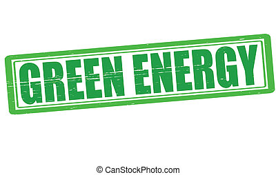 Green energy - Stamp with text green energy inside, vector...