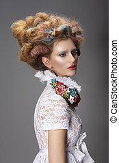 updo, tinto, capelli, donna, moderno, acconciatura, alto,...